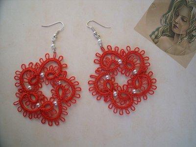 Orecchini moda uncinetto colore corallo chiacchierino idea regalo donna ragazza
