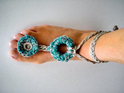 cavigliera gioiello un gioiello per l'estate accessori hippy chic turchese ottanio