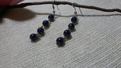 Orecchini pendenti perline acriliche blu