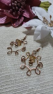 Orecchini wire bronzo con cristallo oro