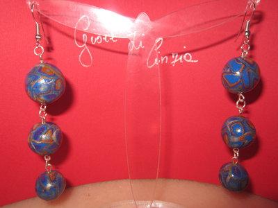 Orecchini pendenti con perle in fimo multicolor