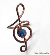 Anello chiave di violino creato a mano in rame