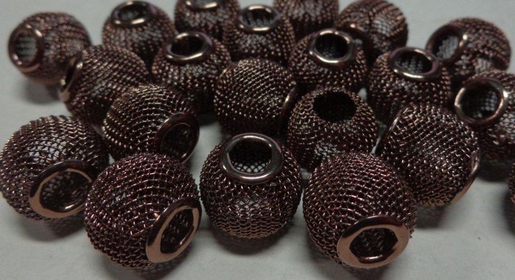 10 Perline In Metallo Retato Foro Largo CAFFE'