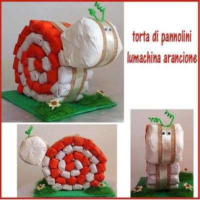 TORTA DI PANNOLINI LUMACHINA ARANCIONE