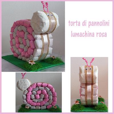 TORTA DI PANNOLINI LUMACHINA ROSA