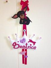 Fiocco nascita- decorazione cameretta-  corona principessa-pannolenci