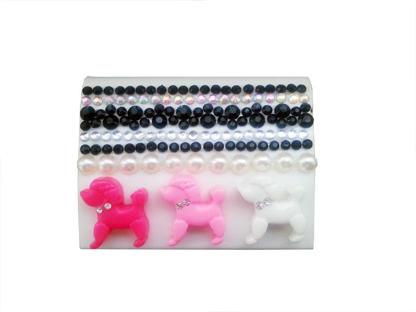 Portalenti a contatto cagnolini strass fashion idea regalo donna - PEZZO UNICO!