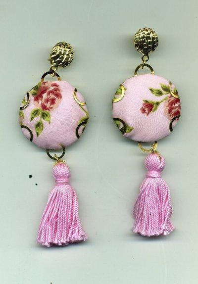 Orecchini pendenti con stoffa provenzale rosa