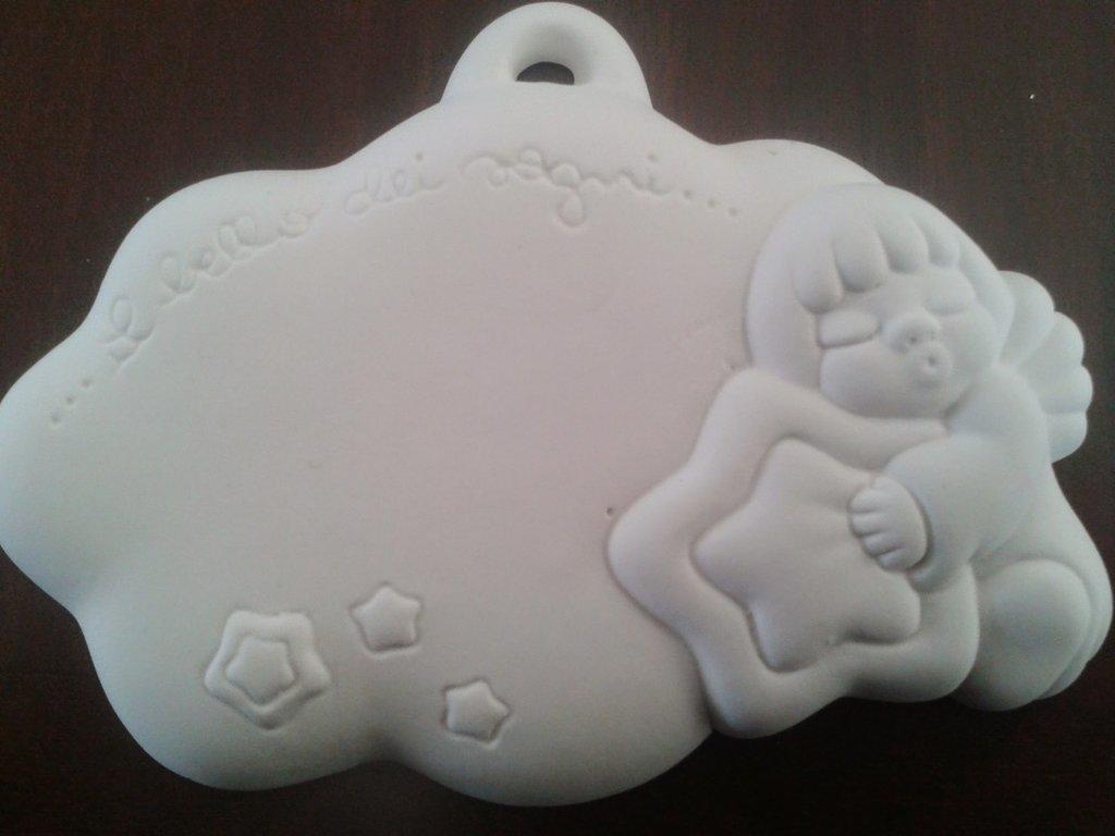 Stampo targhetta a forma di nuvoletta con angioletto e stella