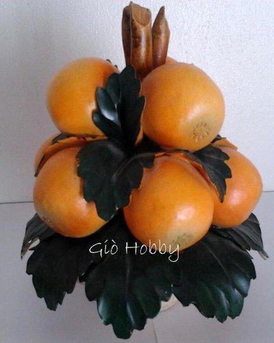 Cestino con arance in ceramica Capodimonte