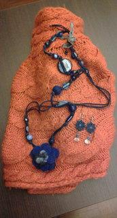 *BLUUU* - Collana realizzata con feltro e pietre