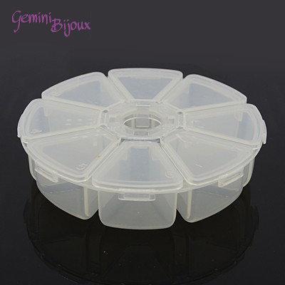 Box per minuteria, trasparente, 8 scomparti, 105x105x28mm