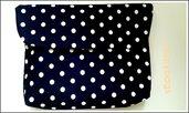 Pochette blu a pois bianchi handmade♡