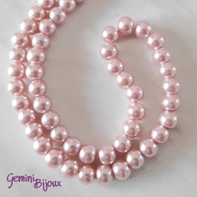 Lotto 20 perle tonde in vetro cerato 8mm rosa chiaro