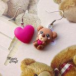 Orecchini Orsetto, orso con cuore in Fimo