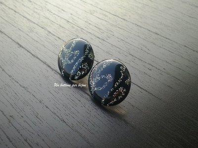 Orecchini a lobo con bottoni vintage smalto blu notte/nero e brillantini
