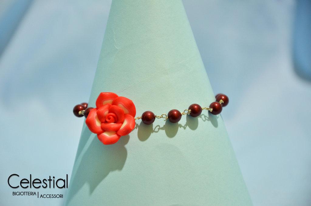 Bracciale perle swarovski e fimo