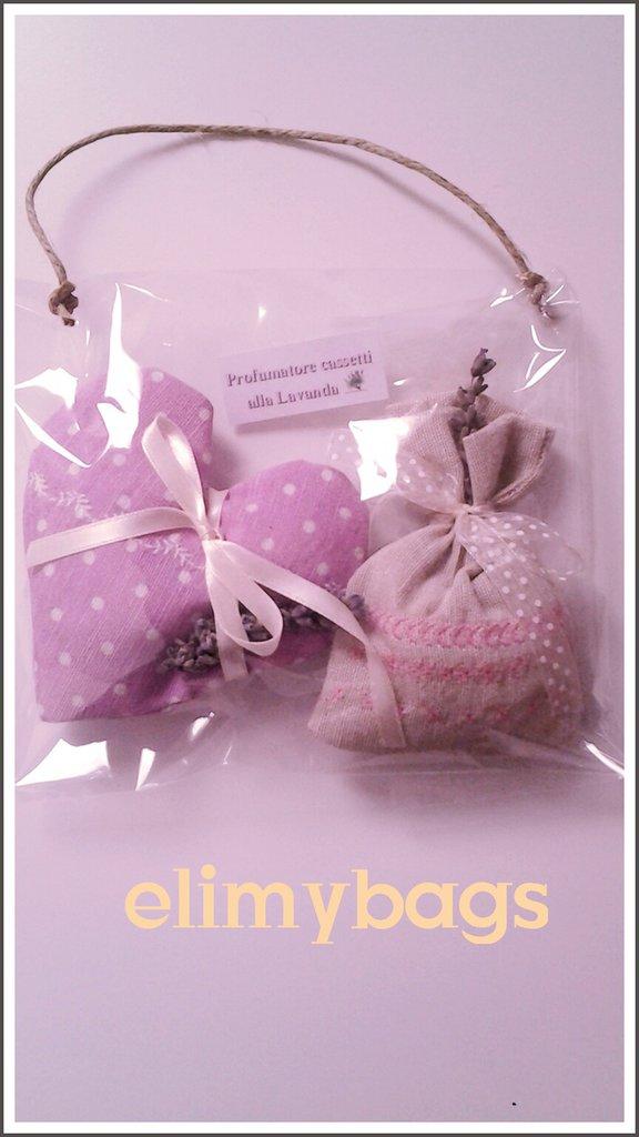 Confezione profumatori cuore e sacchetto alla lavanda handmade♡