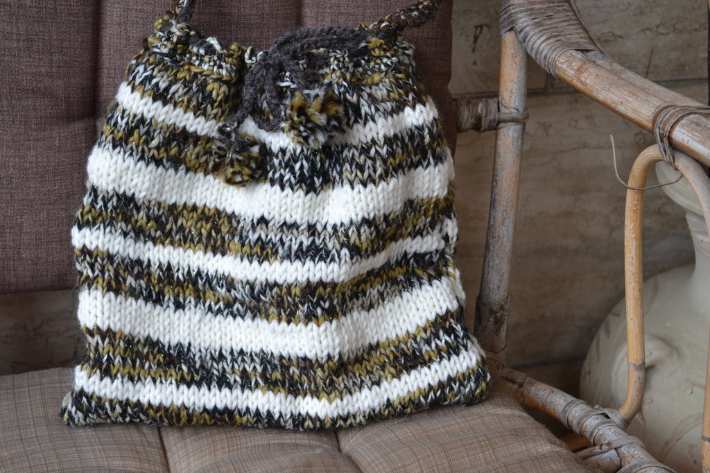 Borsa di lana tracolla diverse tonalità di marrone e panna