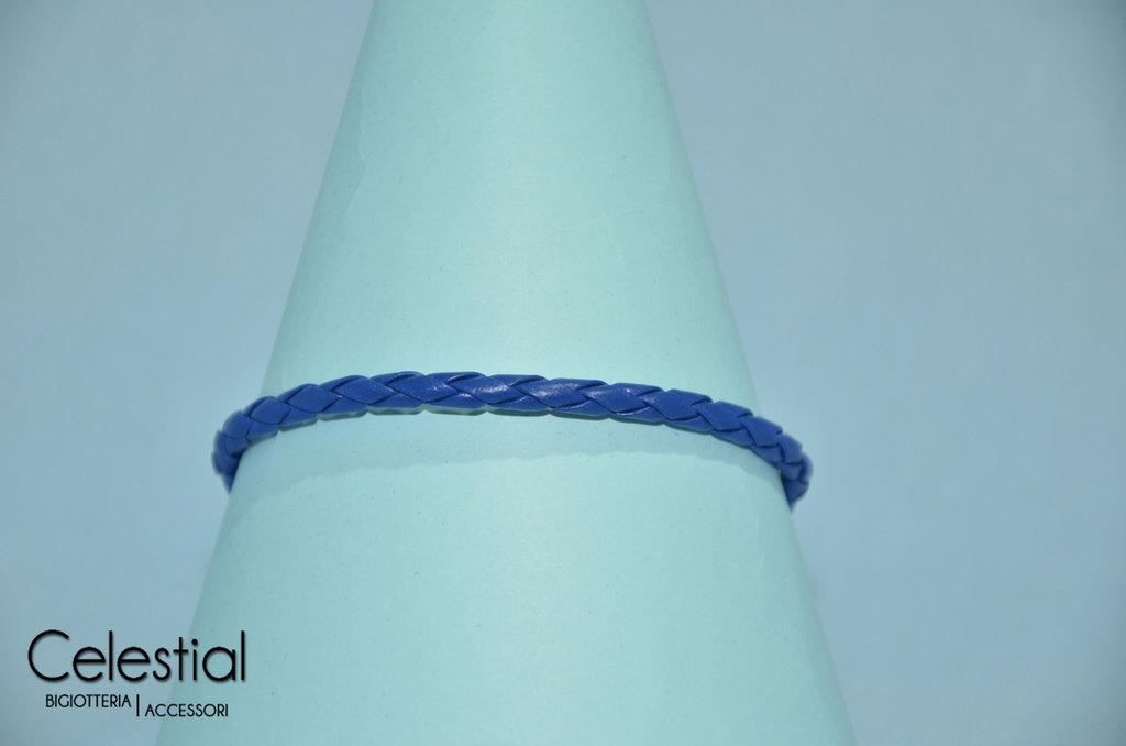 Bracciale cordincino caucciù uomo - Blu