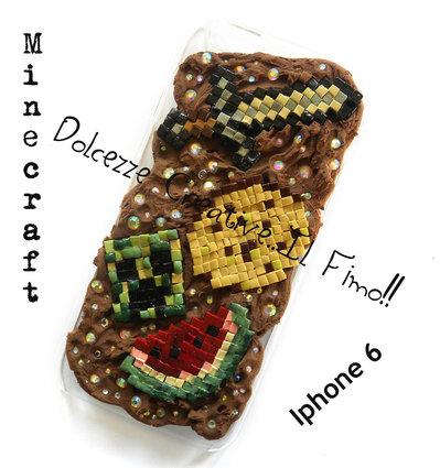 Cover IPhone 6/6s - Spada, pane, anguria, cookie, biscotto, pixel, idea regalo kawaii HANDMADE