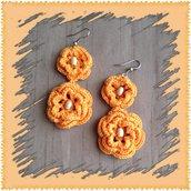 Orecchini pendenti ad uncinetto, fiore arancione, fatti a mano