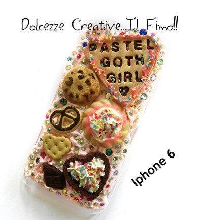 Cover IPhone 6/6s Pastel goth girl - Kawaii biscotti , caramelle, cioccolato, cookie, biscotti, idea regalo