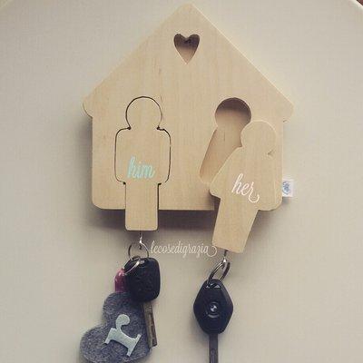 Portachiavi in legno lui lei per la casa e per te - Oggetti in legno per la casa ...