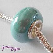 Perla a foro largo in ceramica, 15x11, verde acqua