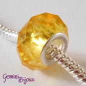 Perla a foro largo in vetro, rondella sfaccettata, 13x8 giallo