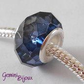 Perla a foro largo in vetro, rondella sfaccettata, 13x8 blu scuro