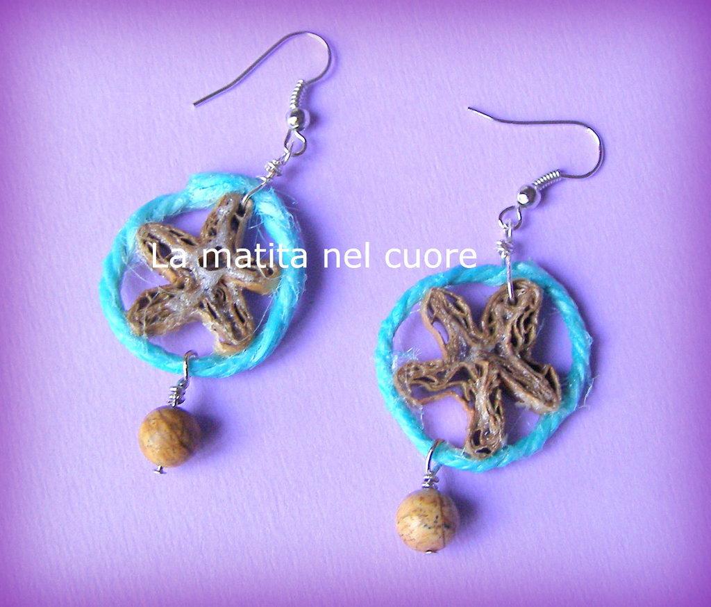 Orecchini stella marina di cartone corda turchese e perla