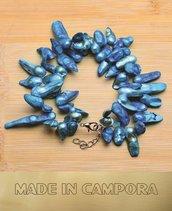 Bracciale in perle di fiume azzurre