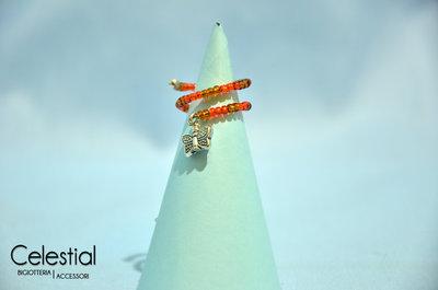 Anello molla bronzo/arancione con farfallina