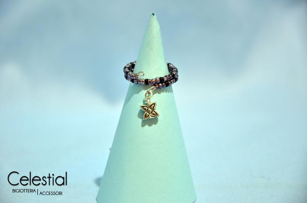 Anello molla viola/nero con fiorellino