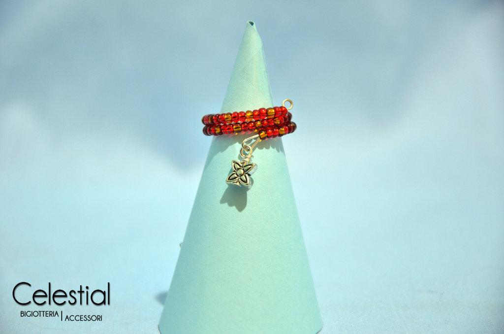 Anello molla rosso/bronzo con fiorellino