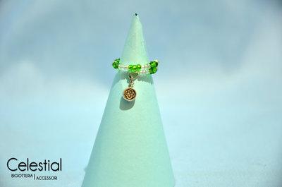 Anello molla verde/bianco con cerchio