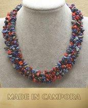 collana multifilo in corallo rosso e lapislazzuli
