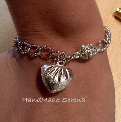 Braccialetto donna con catena e cuore acciaio