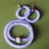 Bracciale stile Stardust rete tubolare blu con orecchini abbinati