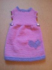 abitino rosa a maglia da bambina 1-3 anni