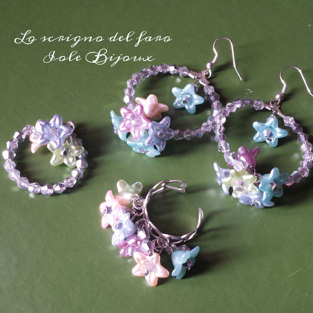 Parure cristalli argento con fiorellini primavera