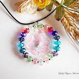 Ciondolo cerchio in cristallo multicolore con fiore rosa fatto con tecnica Sospeso Trasparente