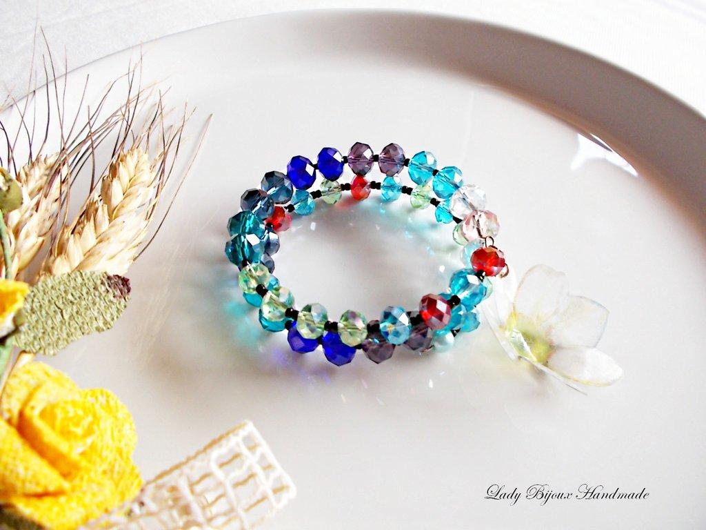 Braccialetto a molla armonica con gemme in cristallo multicolore con ciondolo fiore in Sospeso Trasparente