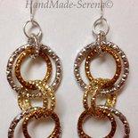 orecchini pendenti con anelli oro - bronzo e argento
