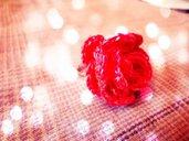Anello uncinetto Rosa rossa