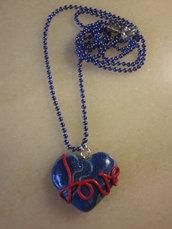 """Collana """"dillo col cuore"""" blu (love)"""