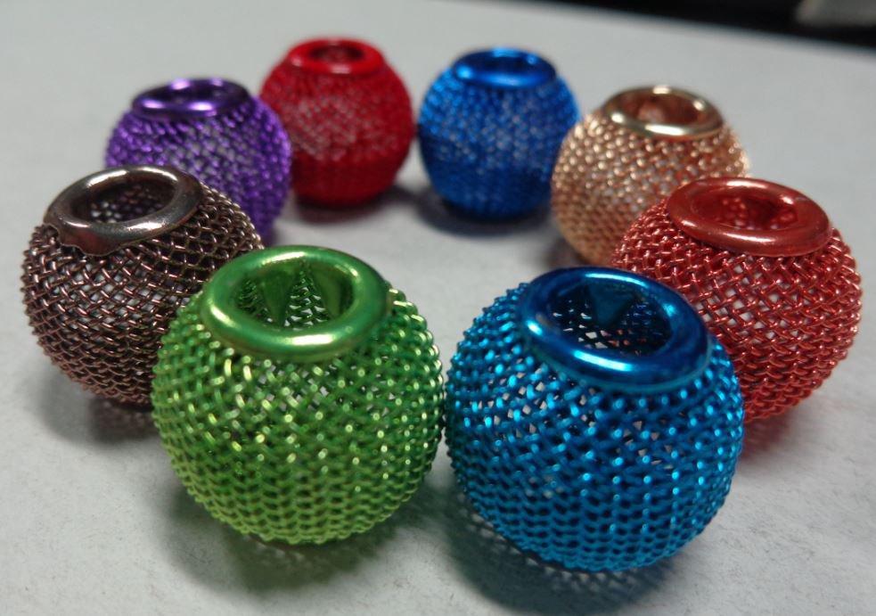 8 Perline In Metallo Retato Foro Largo 8 COLORI