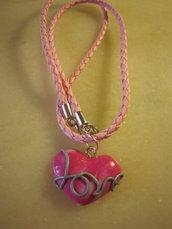 """Collana """"dillo col cuore"""" rosa (love)"""