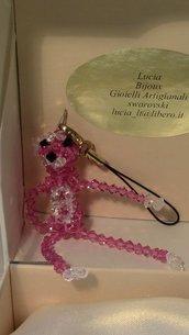 Pantera rosa  in cristallo swarovski